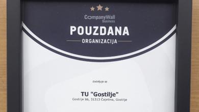 """Photo of Turističkom udruženju """"Gostilje"""" priznanje za pouzdano i odgovorno poslovanje"""